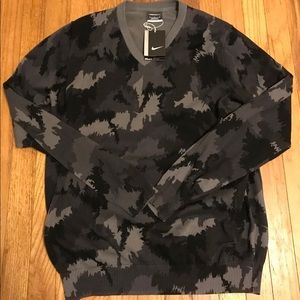 Nike Golf Range Camo V-Neck Sweater Sz Large Gray